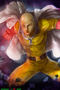 360x640 One Punch Man Artwork 4k