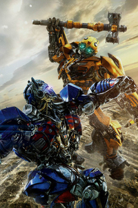 640x1136 Optimus Prime VS Bumblebbe Transformers The Last Knight