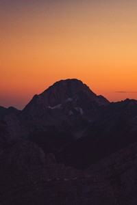 2160x3840 Orange Sky Landscape Sunset Mountains 8k