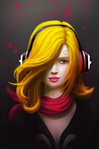 Painting Art Girl Headphones