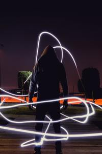 240x400 Person Wearing Hoodie Jacket Neon Light