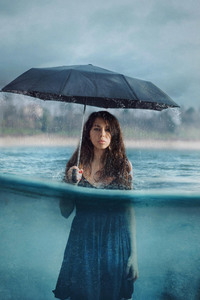 1440x2560 Photography Manipulation Umbrella Girl Women Rain