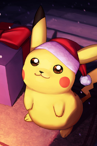 1080x1920 Pikachu On Christmas Day Fanart