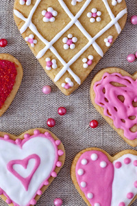 240x320 Pink Color Heart Shaped Cookies