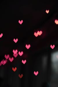 640x960 Pink Little Heart Bokeh Lights