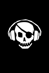 1080x2160 Pirate Skull Headphones