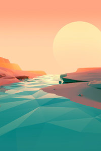 480x854 Polygon Lake Sunset Minimalist
