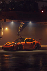 800x1280 Porsche GT2RS With Helicopter