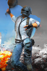 720x1280 PUBG Helmet Man With Pan 4k