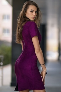 1242x2688 Purple Dress Long Hair Model