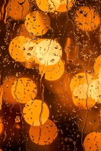 Rain Drops Orange Bokeh Lights 5k