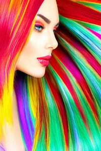 Rainbow Colorful Girl Hairs 5k