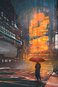 1125x2436 Rainy Night Man With Umbrella Scifi Drawings Digital Art
