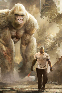 320x568 Rampage Dwayne Johnson With George The Giant Gorilla
