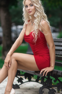 540x960 Red Dress Blonde Model Outdoor