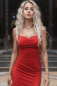 480x854 Red Dress Blonde Model