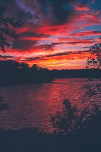 640x1136 Red Evening Sunset Lake View From Forest Woods