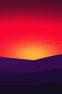 Red Mountains Sunset Birds