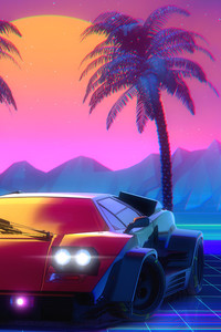 1125x2436 Retro Lamborghini Countach Palm Trees