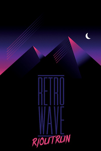 Retrowave Outrun Mountains Night