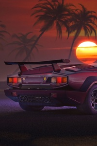 800x1280 Retrowave Supercar
