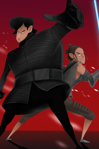 1280x2120 Rey And Kylo Ren Artwork 4k
