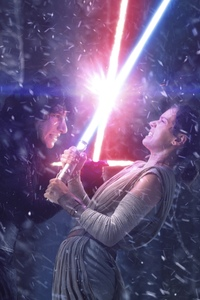 240x320 Rey And Kylo Ren Fighting With Lightsaber