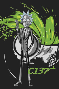 480x800 Rick Sanchez As James Bond Artwork
