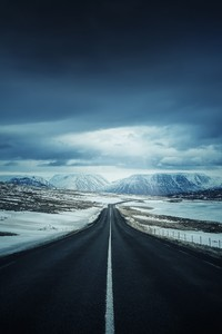 240x400 Road Iceland Clouds Highway Mountains Landscape 4k