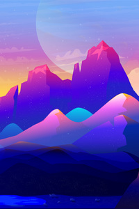 480x800 Rock Mountains Landscape Colorful Illustration Minimalist