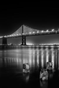 1125x2436 San Francisco Bay Bridge At Night Time Monochrome 5k