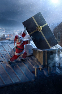 240x400 Santa Claus Chimne Present Delivery