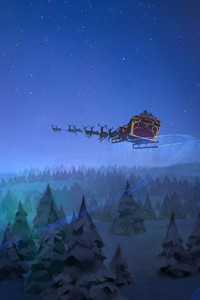 640x960 Santa Claus Reindeer Sleigh Flying Christmas Tree 8k