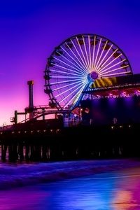 1125x2436 Santa Monica Ferris Wheel Colorful Golden Hour