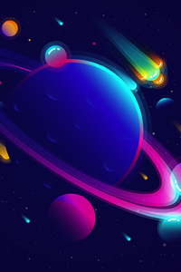480x800 Saturn Planet Illustration Minimalist