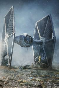 240x320 Scifi C 3PO R2 D2 Star Wars TIE Fighter