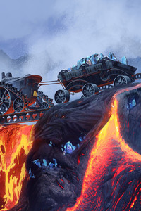 Scifi Steampunk Mountain Vehicle Mining Lava