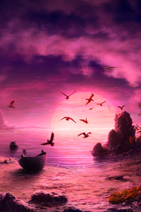 1080x1920 Seagull Birds Boat Landscape Purple Sunset