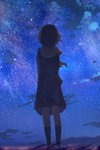 Short Hair In School Uniform Looking Away At Stars Anime