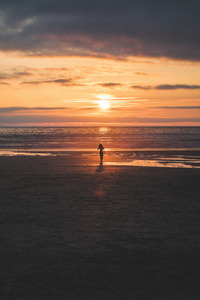 2160x3840 Silhouette Sunset Horizon Lonely Girl