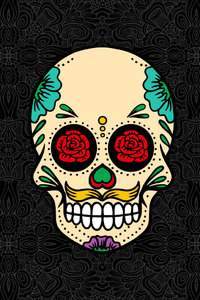 1280x2120 Skull Abstract Rose Flowers
