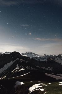 750x1334 Sky Star Night Snow Mountains Range 5k