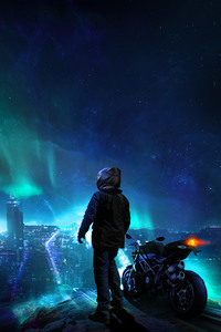 1280x2120 Skylines Biker Blue City Photomanipulation