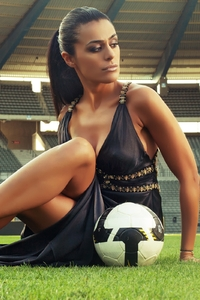 800x1280 Soccer Girl With Football In Stadium