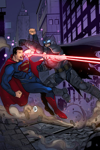 320x480 Son Of Krypton Vs Bat Of Gotham Artwork