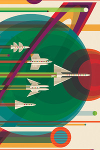 240x400 Spaceship Vector Solar System Planets Planes Sci Fi Artistic