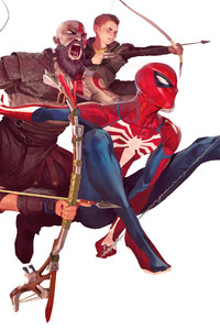 240x400 Spiderman And God Of War Characters Art