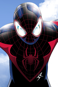 640x1136 Spiderman On The Sky