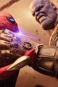 1280x2120 Spiderman Thanos Avengers Infinity War