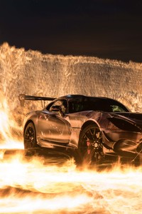 480x854 Sports Car On Fire